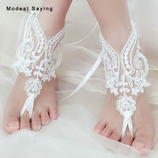 Real Picture Ivory Elegant Lace Wedding Barefoot Sandals 2018 For Bridesmaid Beach Shoes Bridal Anklets