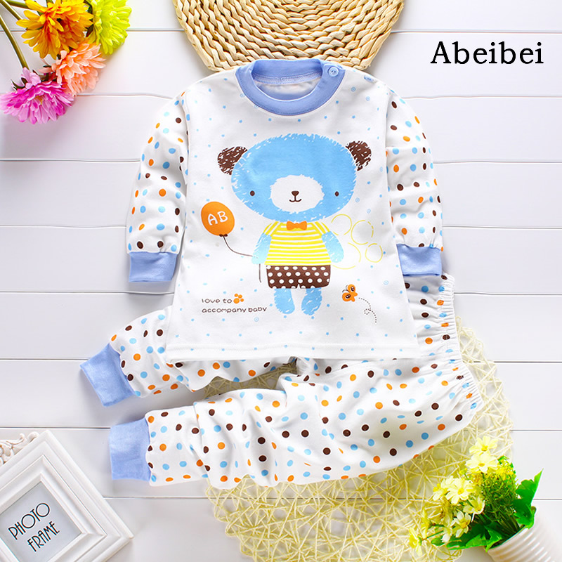 2pcs/set Newborn Baby Clothing Sets for 7-24M Brand kids Clothes 100% Cotton long sleeve base shirt Undershirts pyjamas bears