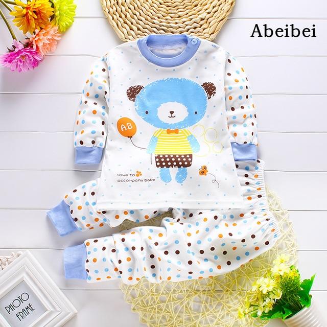 2pcs/set Newborn Baby Clothing Sets for 7-24M kids pajamas Clothes 100% Cotton long sleeve base shirt Undershirts pyjamas bears