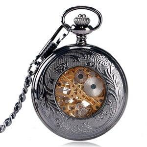 Image 5 - H ollowดอกไม้กรณีวิศวกรรมลมขึ้นนาฬิกาพกสีดำมือคดเคี้ยวStewampunk Fobจี้พยาบาลนาฬิกาที่มีสไตล์