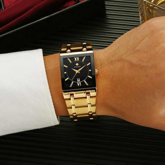 Gold Black Square Quart Waterproof Wristwatch 5