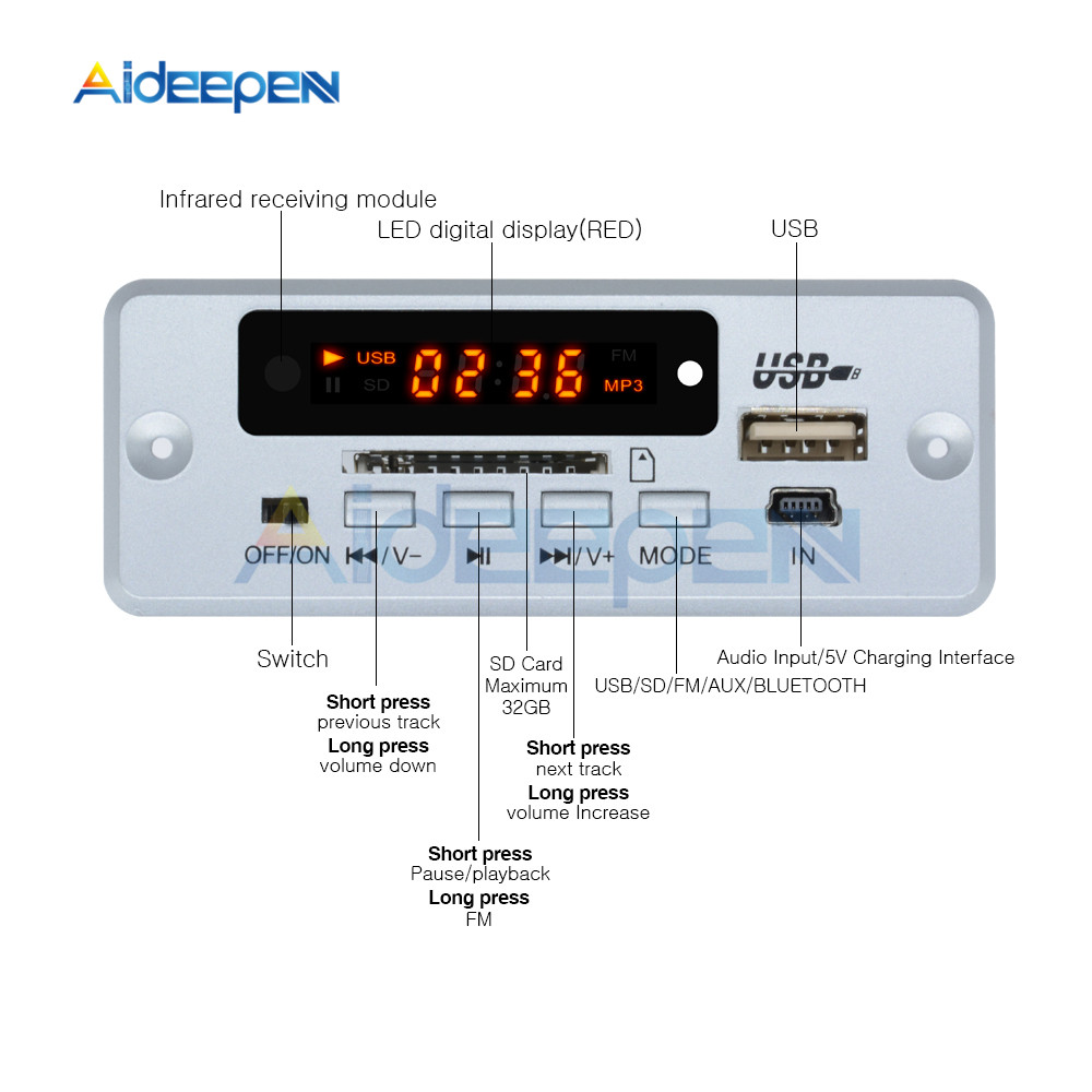 Image 2 - Mini 5V MP3 Decoder Board Bluetooth Call Decoding Module MP3 WAV U Disk & TF Card USB With 2*3W Amplifier Remote Controller-in Instrument Parts & Accessories from Tools