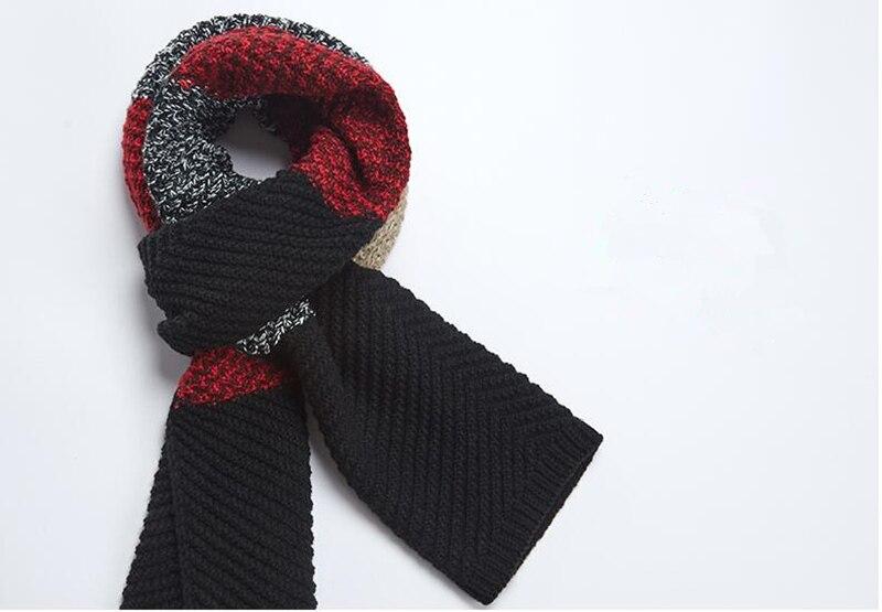 Hombres sjaals invierno crochet bufanda larga lana raya pañuelo ...