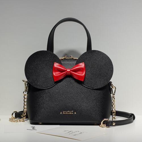 Limited sale Fashion new Handbags High quality PU leather Women bag Mickey Big Ear Shell Sweet bow Chain Shoulder Female bag