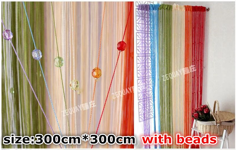 2015New Romatic String Curtain 300cm*300cm With Beads Decor Tassels Fly Insect Door Screen Divider Window Panel Room Divider