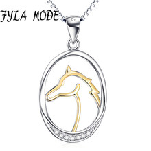 FYLA MODE 100% Sterling Silver 27.8*14.9mm Oval Shape Horse Head Fantasy Pendant Charms Necklace Fine Jewelry Gift
