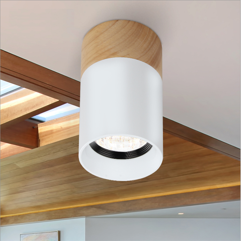 85-265Vac 3W 5W LED surface mounted ceiling spot lamp , anti glare 46 degree beam angle oak base down light