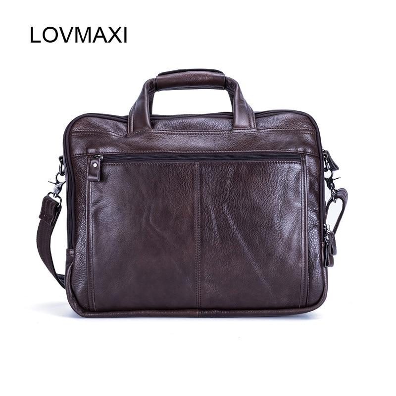 Lovmaxi 100% 정품 가죽 남성 서류 가방 남성 비즈니스 핸드백 인과 노트북 가방 메신저 가방 대형 여행 가방-에서서류 가방부터 수화물 & 가방 의  그룹 2
