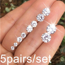 WNGMNGL 5 Pairs/Set Classic Sliver Alloy 9 Colors Crystal Stud Earrings for Women Charm Statement 2018 New Fashion Jewelry Gift
