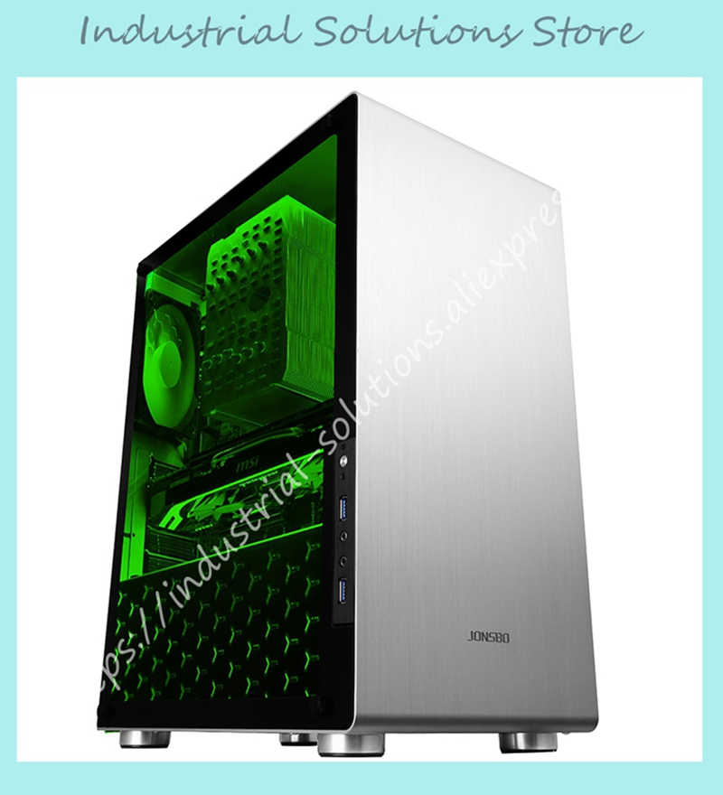 NEW case U4 ATX Aluminum Chassis 5MM thick tempered glass side panels Computer jonsbo rm2 aluminum chassis atx small chassis support atx motherboard atx power supply