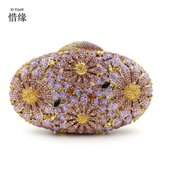 XIYUAN BRAND red Crystal wedding Clutch Evening bag for bride Clutch Bags for Womens Party Cocktail Evening Bags and Box purple gradual change colours full of rhinestone refinement lady for party and wedding evening clutch bags womens designers purses
