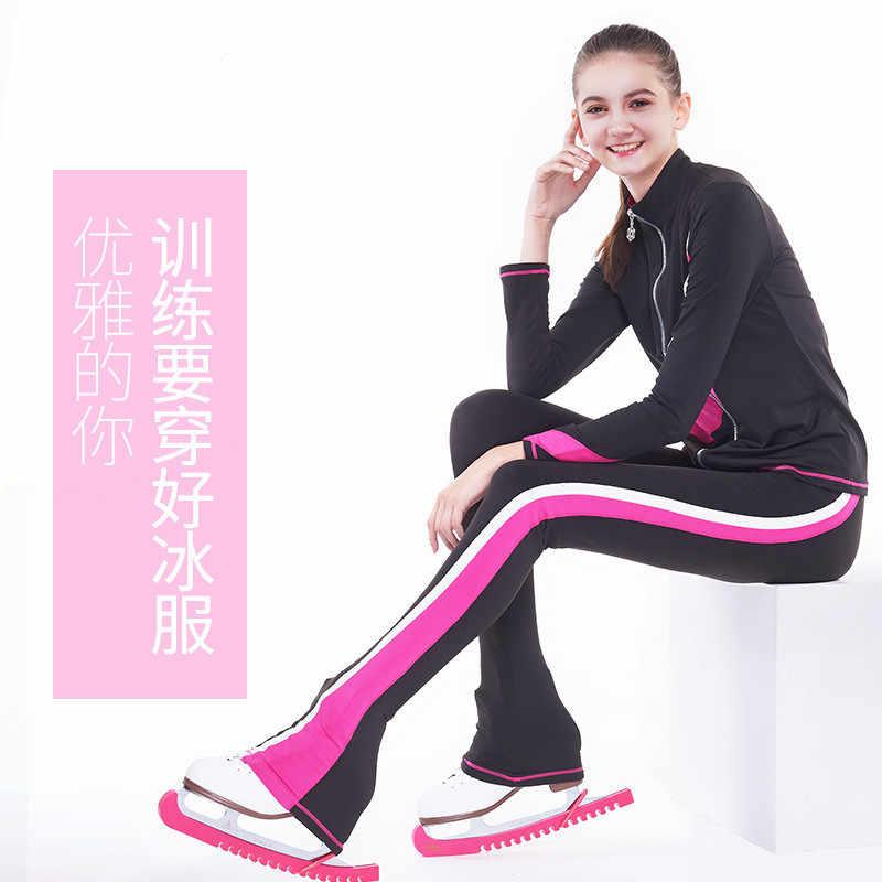 Dostosowane łyżwiarstwo figurowe szkolenia Suits kurtka i spodnie długie spodnie dla dziewczyny kobiety szkolenia jazda na łyżwach ciepłe Rainbow wzór w paski