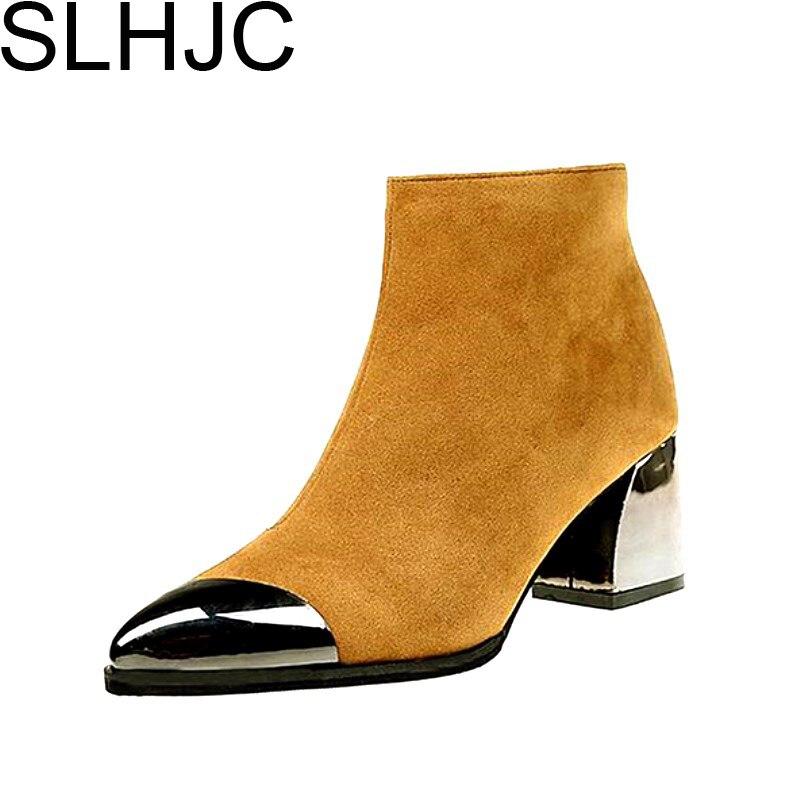 Slhjc осень 2017 г. зимние сапоги с металлическим носком острым на среднем каблуке короткие ботинки Martin обувь Для женщин насосы боковой молнии ...