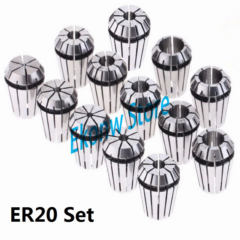 13pcs/set ER20 Chuck Collet Precision Spring Chuck Collet Set 1-13mm For CNC Milling Lathe Tool Engraving Machine
