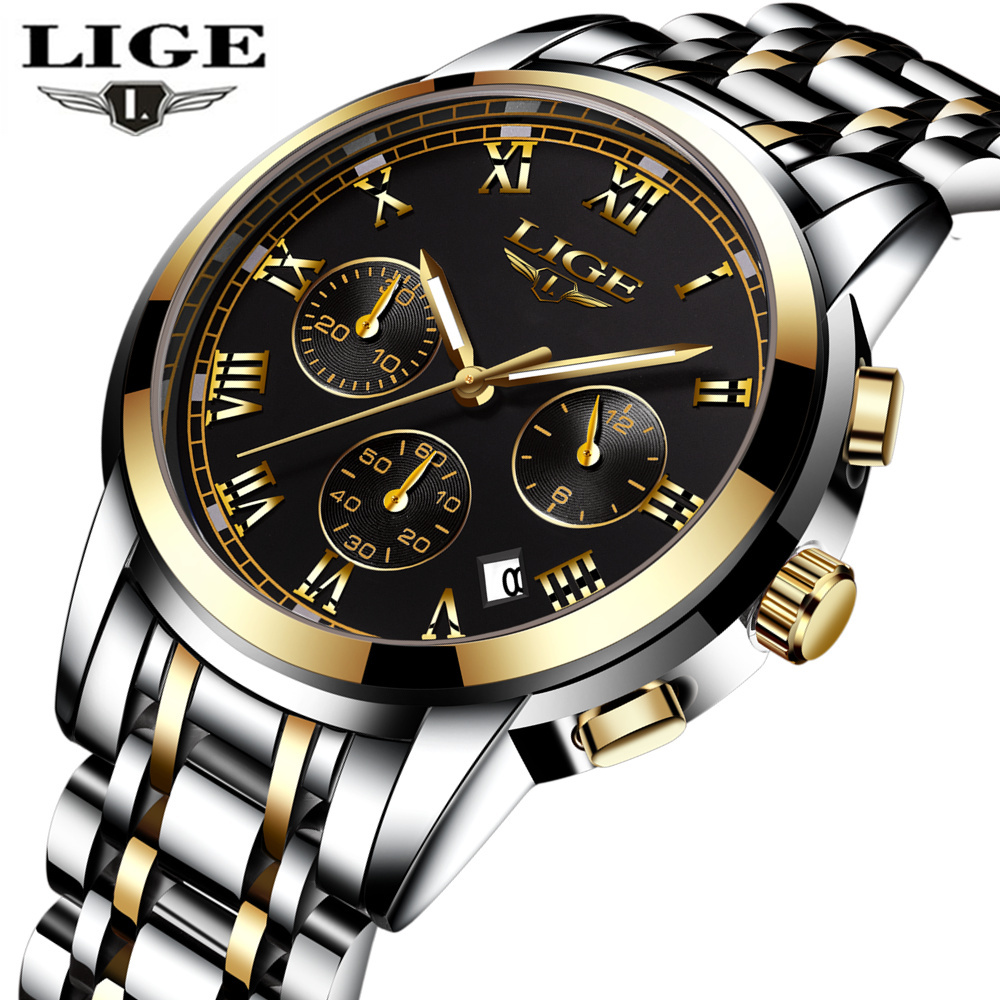 LIGE Mens Watches Top Brand Luxury Male Military Sport Luminous Watch men Business quartz-watch Male Clock Man Relogio Masculino