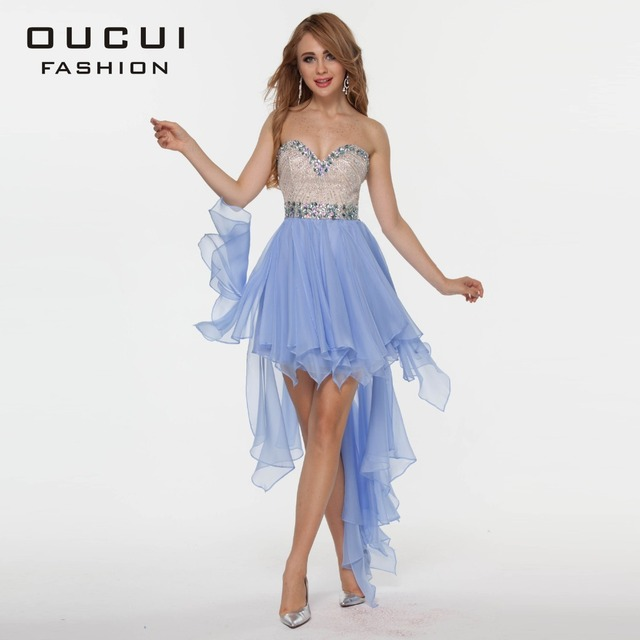 4dac2e1056aec US $135.9 10% OFF|OUCUI Real photo Handmake Crystal High Low Chiffon  Cocktail Dresses OL102344 Free Shipping-in Cocktail Dresses from Weddings &  ...