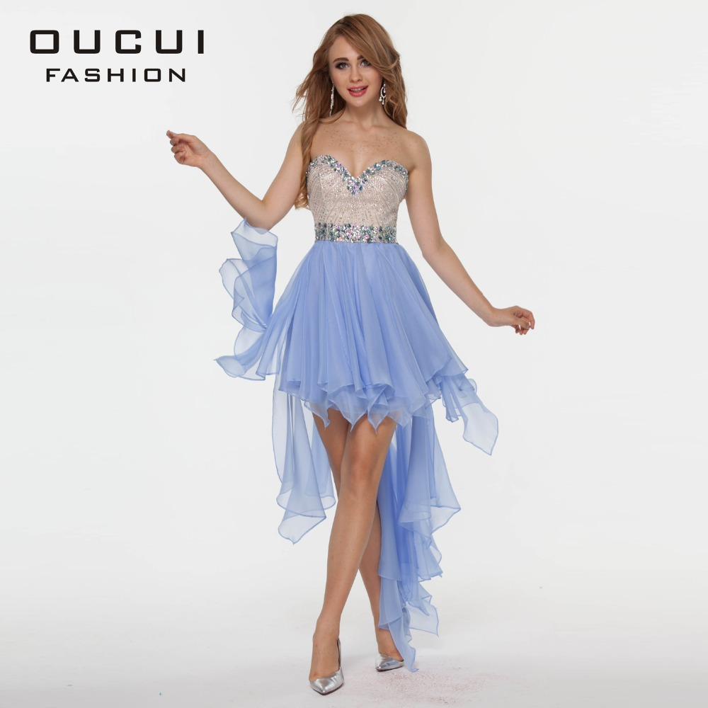 OUCUI Real photo Handmake Crystal High Low Chiffon   Cocktail     Dresses   OL102344 Free Shipping