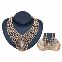 High Quality African Beads Rhinestone Crystal Jewelry Set for Women Necklace Earrings Set Dubai Wedding Costume Accessories