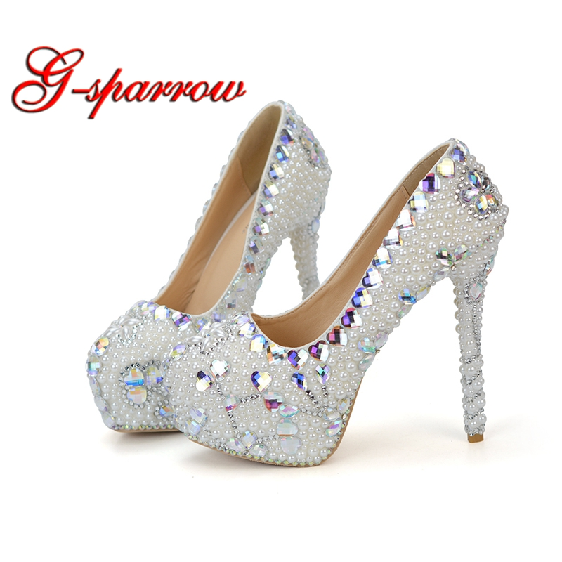 2018 Party Prom Pumps Beautiful Platforms Lady Court Shoes White Pearl with AB Heart Crystal Wedding Dress Shoes 14cm High Heels