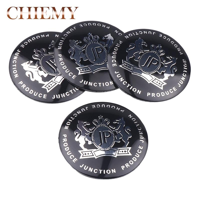 4pcs/  Newest 56mm 65mm JP Junction Produce Logo Car Emblem Wheel Center Hub Sticker Auto Badge Decals Accessories Black