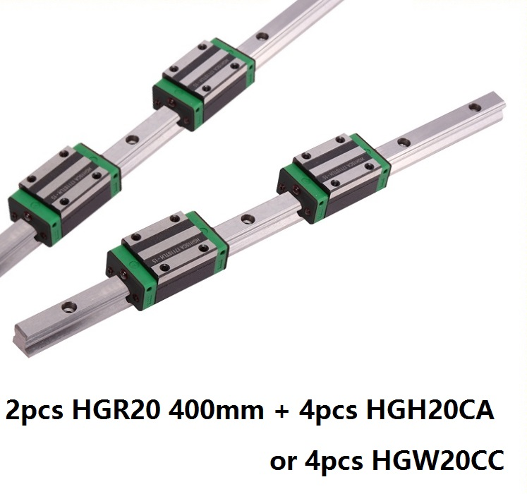 2pcs linear guide rail HGR20 400mm with 4pcs HGH20CA Or HGW20CC linear block Carriage for cnc router2pcs linear guide rail HGR20 400mm with 4pcs HGH20CA Or HGW20CC linear block Carriage for cnc router