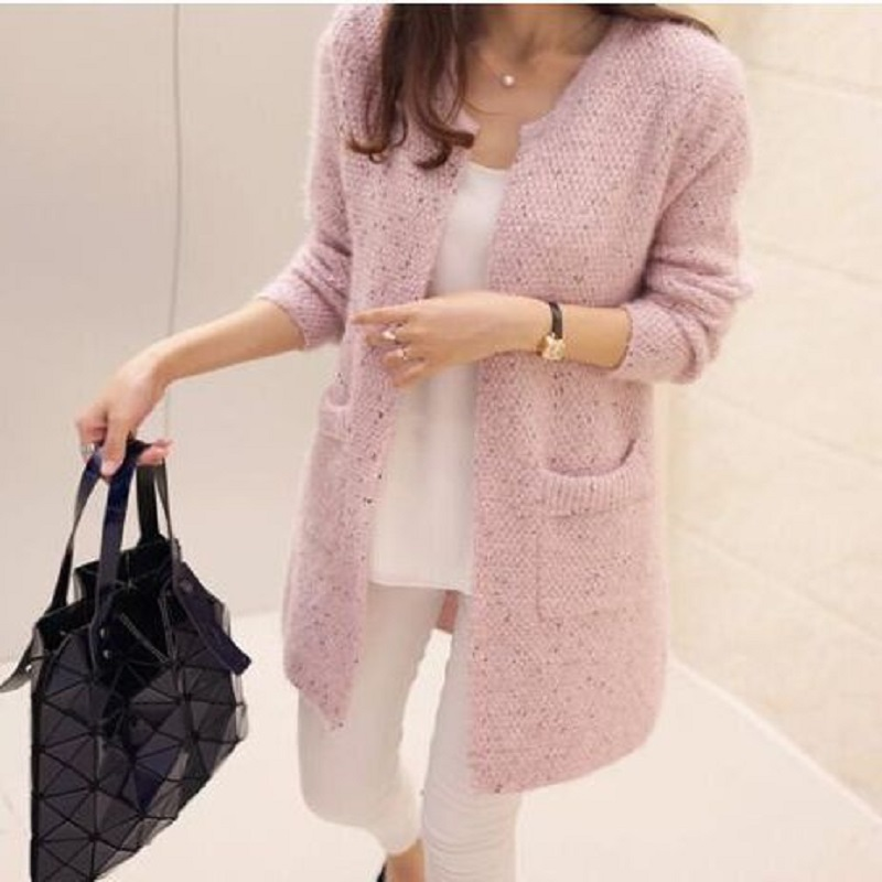 Liva Girl Long Sleeve Knitted Cardigans Women Autumn Winter Casual 2017 Crochet Ladies Sweaters Fashion Tricotado Tops 1
