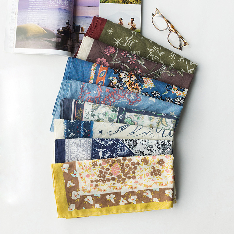 8d181c92f7ee9 7Colors Fashion Boho Bandana Square Scarf for Ladies Fashion Cotton Print  Handkerchief Women's Bag Scarf 2018