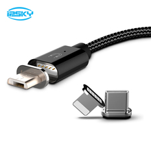 IPSKY 3 in 1 USB Cable Magnetic Charging Cord For Iphone 8 7 Xr Cables Fast Charge Cables For Samsung MicroUSB For Xiaomi USB C