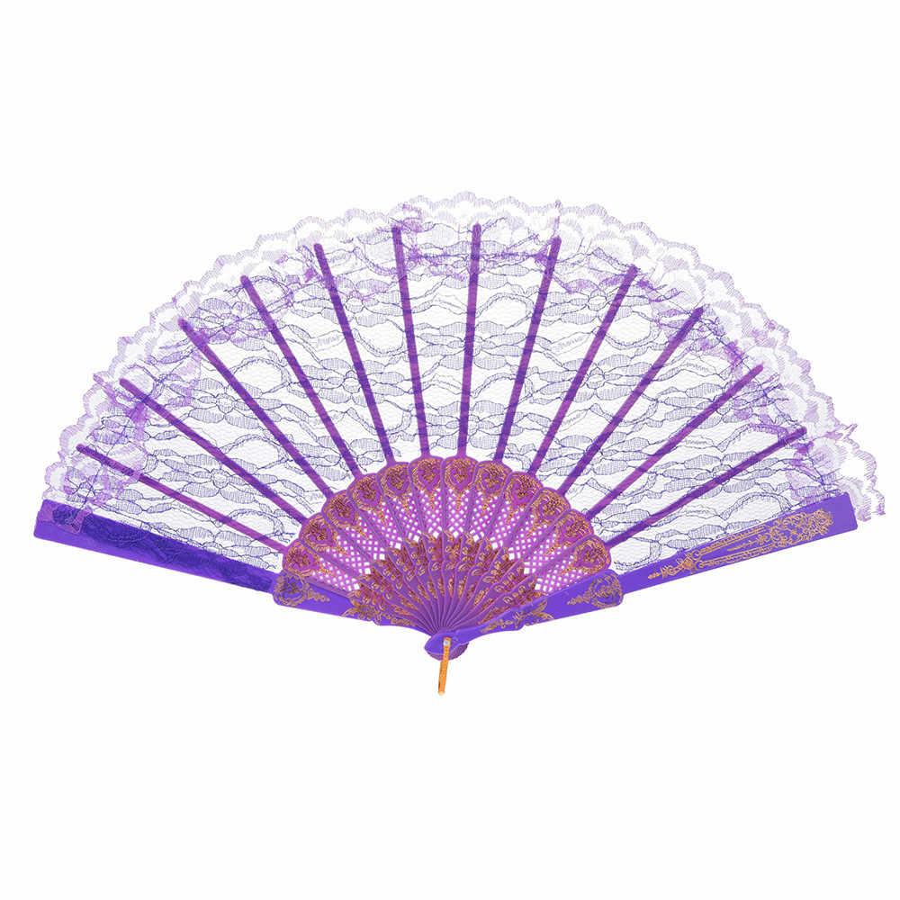 Китайский стиль кружева ручной складной вентилятор Танцевальная вечеринка День Рождения украшения сувениры подарок Женщины Танцы ручной вентиляторы Декор #20