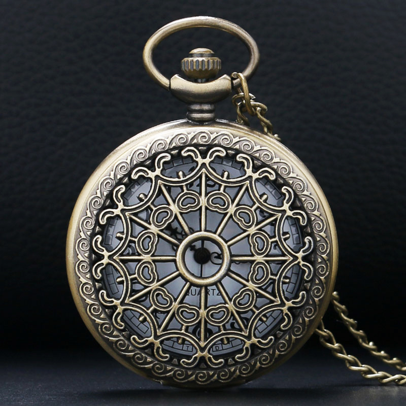 2017 Retro Bronze Vintage Hollow Quartz Pocket Watch Flower Enamel Women Men Necklace Pendant with Chain Relogio De Bolso Gifts antique smooth black mini toy pocket watch men women retro pendant necklace quartz watch mini gift chain reloj de bolsillo