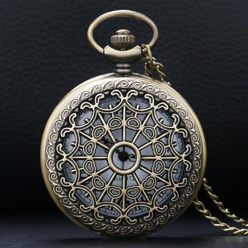 2017 Retro Bronze Vintage Hollow Quartz Pocket Watch Flower Enamel Women Men Necklace Pendant With Chain Relogio De Bolso Gifts
