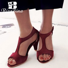 RizaBina 5 Colors Size 32-43 Women Sandals Open Toe Slip On Bowknot Thin Heel Summer Shoes Sexy Ornate For Party Footwear