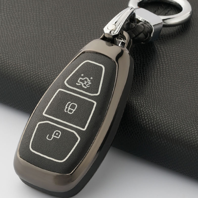 Zinc Alloy Leather Car Key Cover Case fit for Ford Focus 3 Ecosport Kuga Escape Key Cover Key Bag glow in dark|Key Case for Car| |  - title=