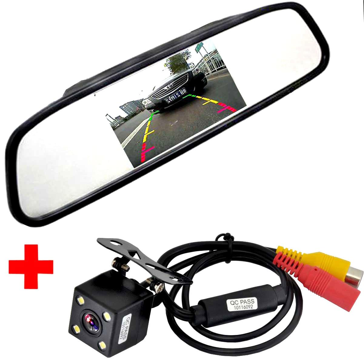Coche HD Video auto parking Monitores, LED de visión nocturna que invierte CCD cámara de visión trasera con 4.3 pulgadas coche espejo retrovisor Monitores