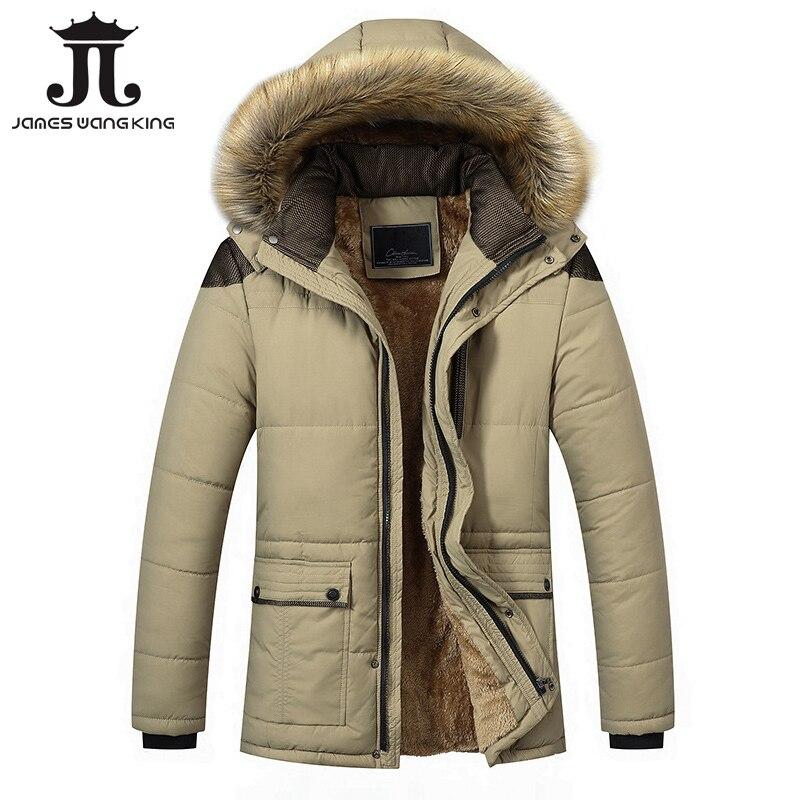 2018 Jaqueta de Inverno Homens Marca de Design Homens Parka Casaco Com  Capuz Vestuário casaco Masculino Gola Grosso Quente Casacos de Capuz Parka  Plus Size ... c342f6c296b10