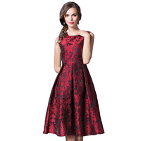 Women Summer Tank Dresses Floral Print High Waist Dress Feminine O Neck Sleeveless Jacquard Vestido Mujer
