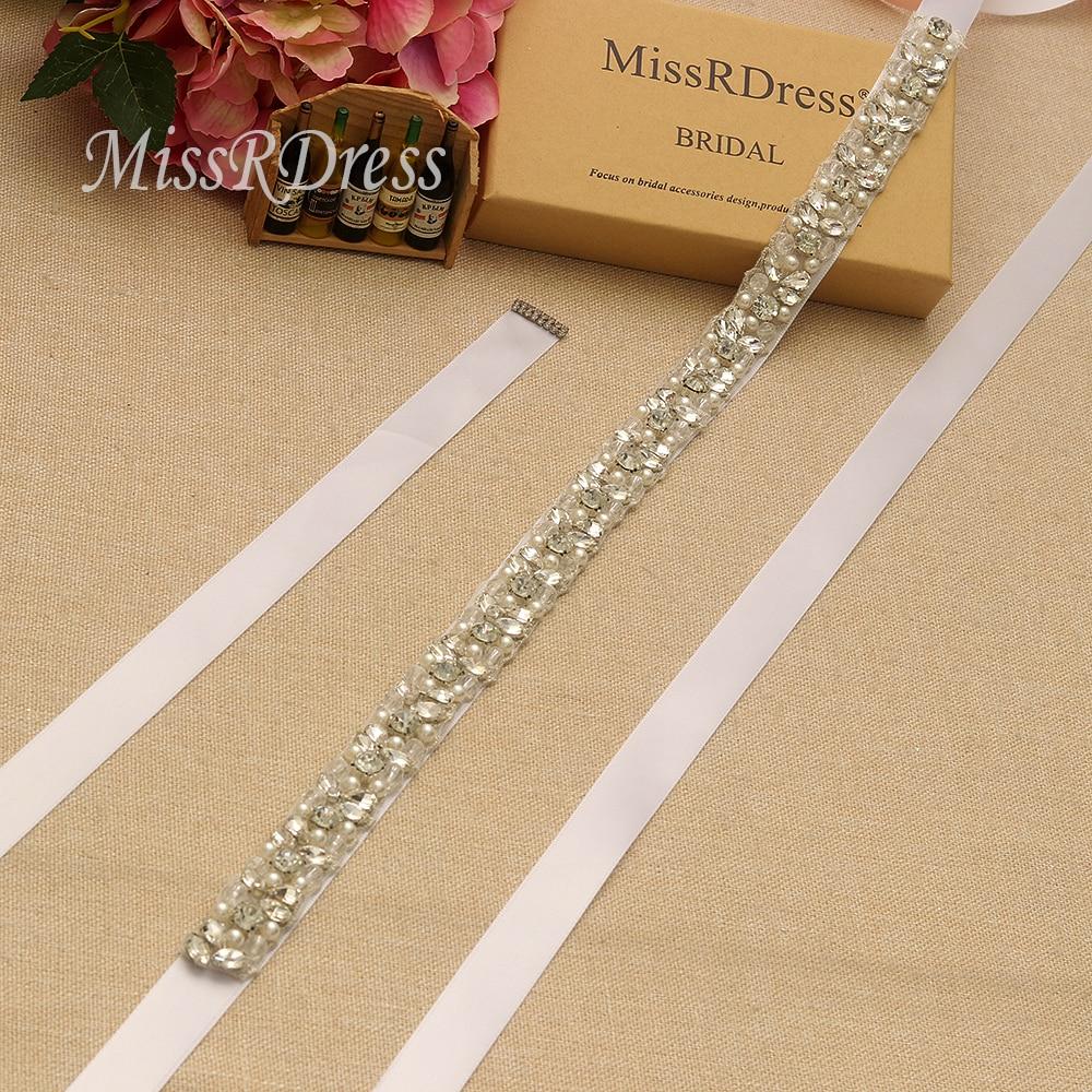 Image 2 - MissRDress Handmade Wedding Belt Silver Crystal Bridal Sash Rhinestones Pearls Bridal Belt For Wedding Dresses JK927-in Bridal Blets from Weddings & Events