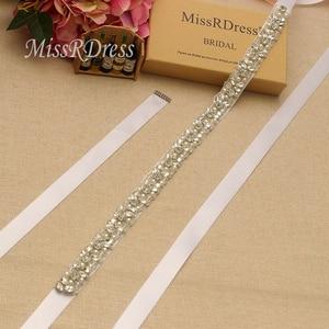 Image 2 - MissRDress Handmade Wedding Belt Silver Crystal Bridal Sash Rhinestones Pearls Bridal Belt For Wedding Dresses JK927