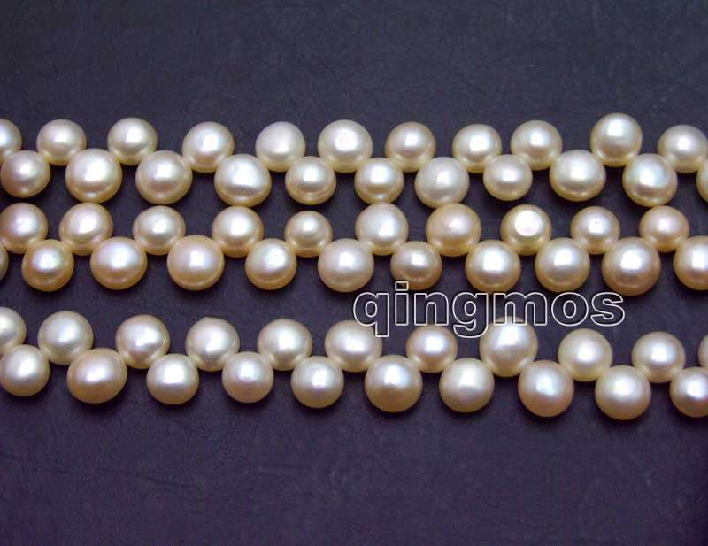 Beads & Jewelry Making Beads 7-8mm Pink Flat Round Side Drilled Natural Freshwater Pearl Loose Beads Strand 14-los769 Wholesale/retail Free Shipping Delicious In Taste
