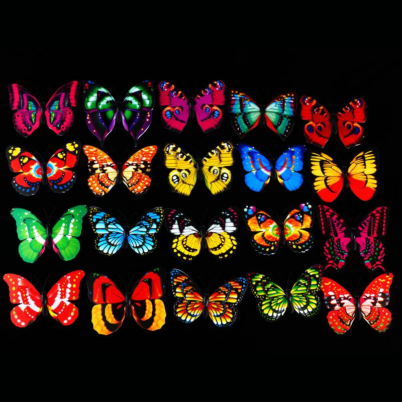 product 50pc Home 3D butterfly wall stickers with pin&Magnet Double-deck the wings design of butterfly curtainsFridge Decoration