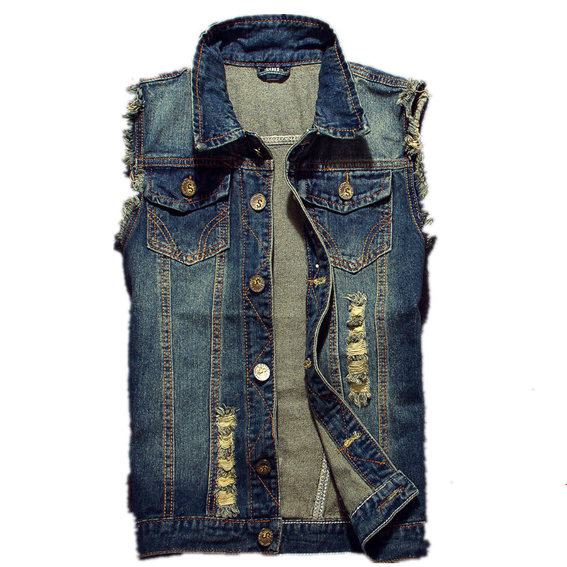 2019 Ripped Jean Jacket Meeste denim-liiv Hip Hop Jean-mantlid - Meeste riided