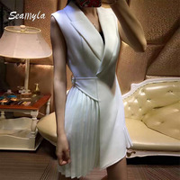 New Fashion 2017 Designer Runway Dress High Quality Women S Sleeveless Notched Collar Dress Elegant Summer