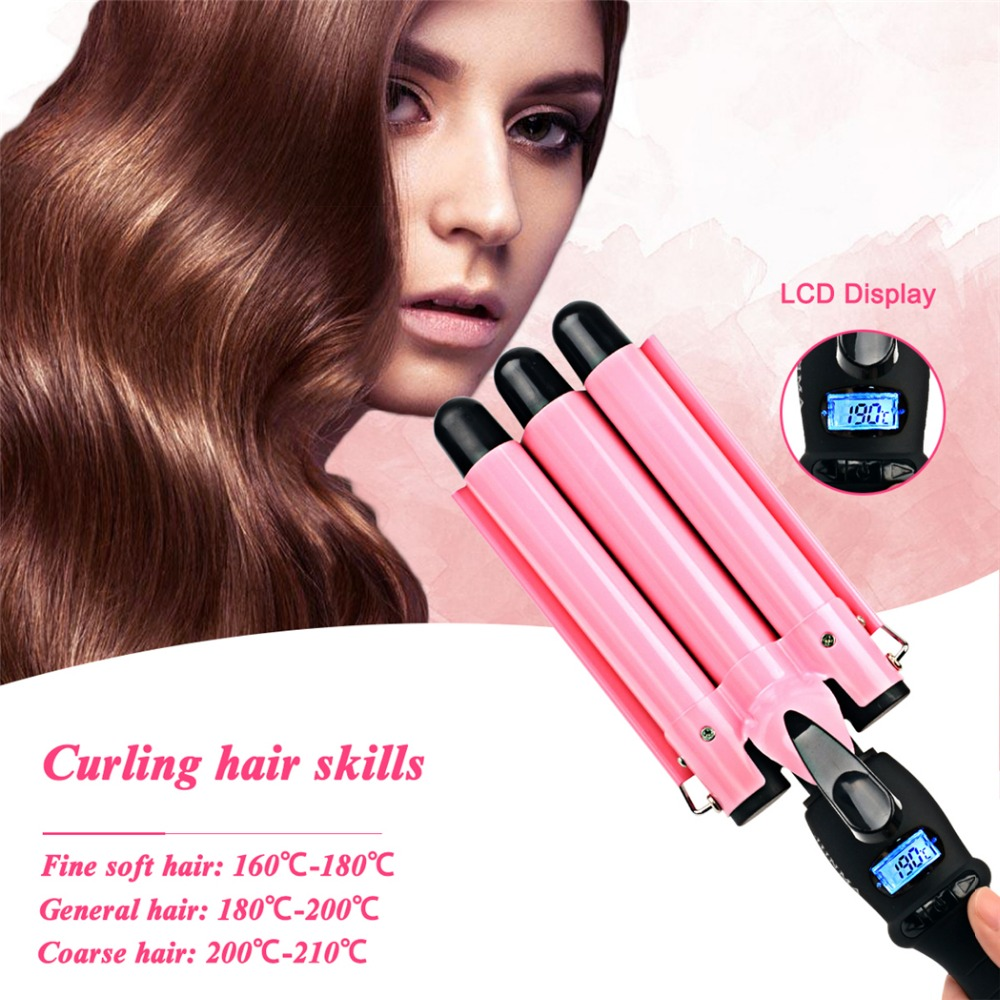 CkeyiN LCD Digital Hair Curling Iron+Glove Automatic Hair Curl Magic 3 Barrels Hair Curlers Rollers Fast Heating Curling Wand ckeyin lcd 19mm ceramic curling iron triple barrel hair curlers styler fast heating hair styling tool magic spiral curling wand
