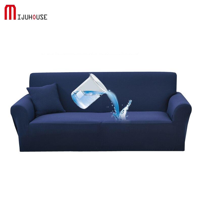 Solid Waterproof Elastic Sofa Cover Anti Pet Damage Non