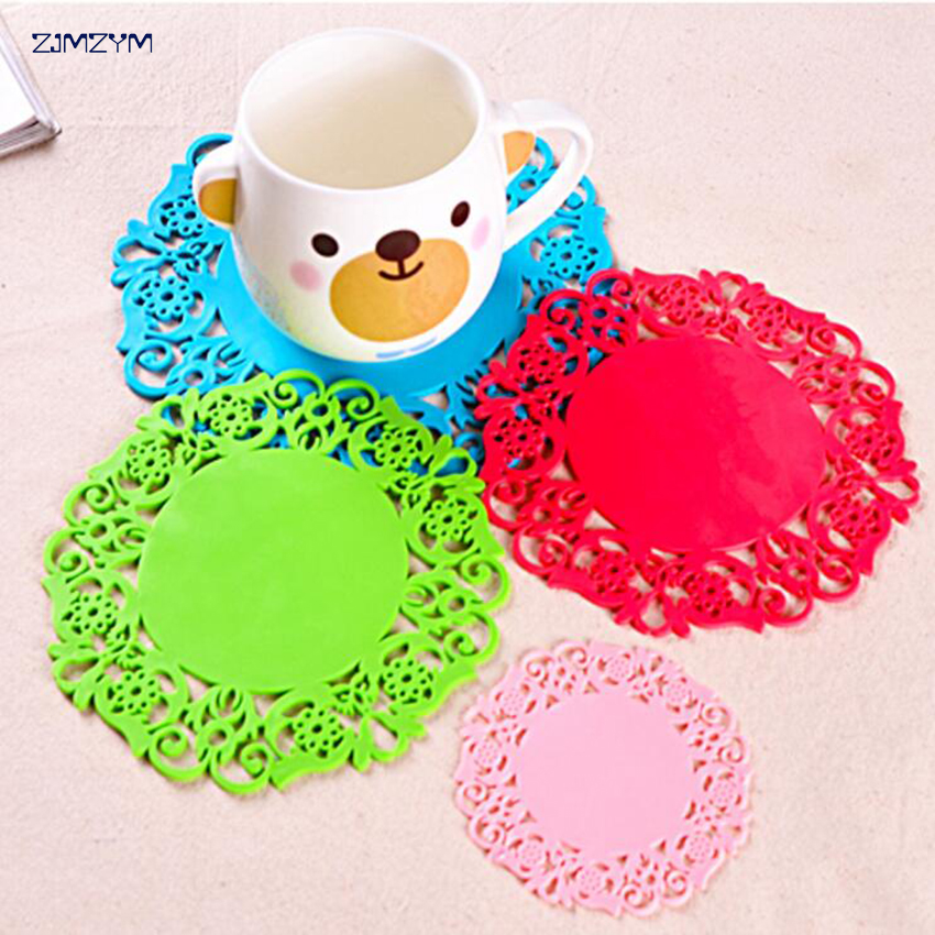 Colorful Lace Flower Hollow Design Round Silicone Table Heat Resistant Mat Cup Coffee Coaster Cushion Placemat Pad 8x8cm