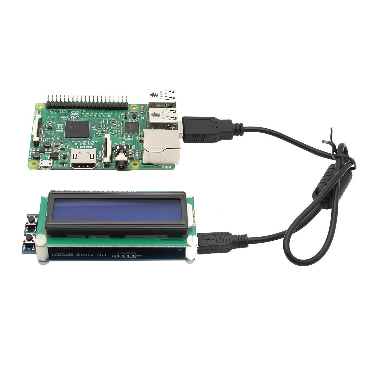 1602 RGB LCD Display Screen With USB Port For Raspberry Pi 3B 2B B+ Windows Linux