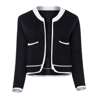 Sisjuly Autumn Winter Women Vintage Knitwear Long Sleeve Color Block Loose Wool Blends Elegant Black White