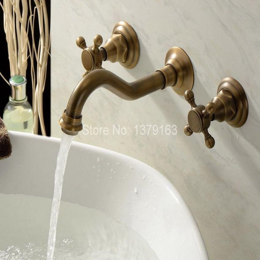 Antique Brass Wall Mount Bathroom 3PCS Dual Cross Handles Tub Faucet Bathroom Tub Sink Mixer Taps atf050 antique brass widespread bathroom faucet 3pcs 8 sink mixer tap dual handles