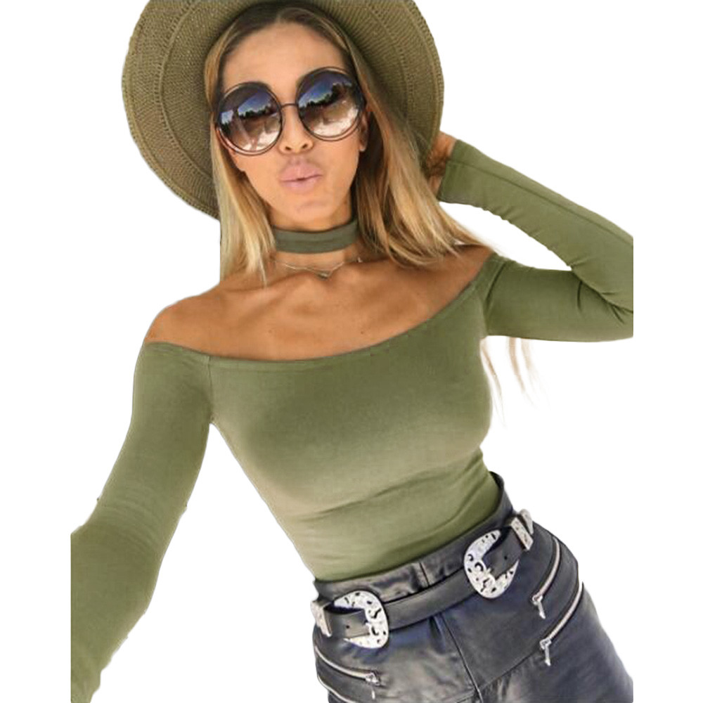 Free Ostrich Spring Off Shoulder  Sexy Backless Rompers  Women's Bodysuit Crop Tops Blusa Woman Bodycon Shirts Overalls D1635