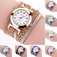 New Fashion Women Thin Multi Layers Quartz Bracelet Watch Crystal Wristwatch Gifts High Quality  LL@17